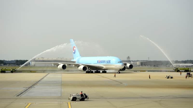 Korean Airlines flight KAL35 arrives at Hartsfield Jackson Atlanta International Airport under a water cannon salute back in 2013.