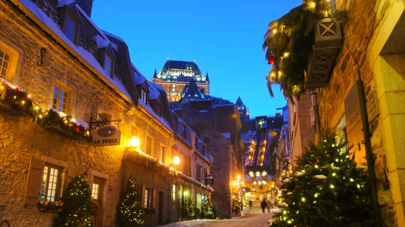 "Say ""Joyeux Noël"" in Quebec City, Canada."