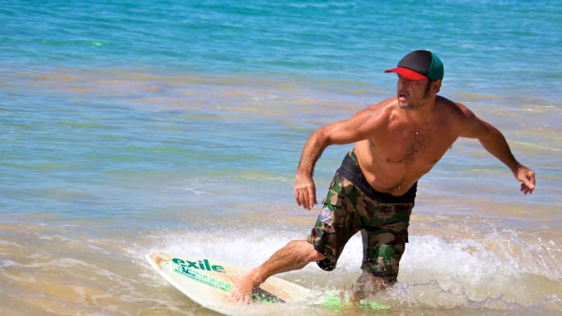Skimboarding originated in Southern California, but it's a popular activity to try out here in Maui.
