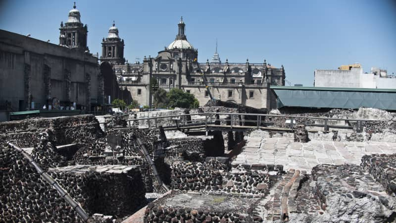 Mexico has maintained a rather liberal travel policy during the pandemic. This is a general view of the Templo Mayor archaeological area, a popular tourist spot in Mexico City.