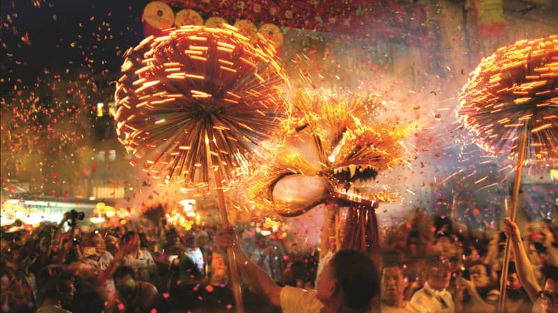 The Tai Hang fire dragon dance is performed in Hong Kong.