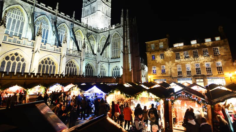 Plunge into Christmas in Bath, England.