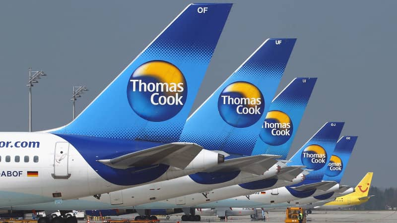 UNICH, GERMANY - APRIL 17: Thomas Cook airplanes are parked at Munich Airport on April 17, 2010 in Munich, Germany. Munich Franz Josef Strauss Airport was closed due to the cloud of volcanic ash from Iceland moving across Northern Europe and will remain closed for an undetermined period. (Photo by Alexander Hassenstein/Getty Images)