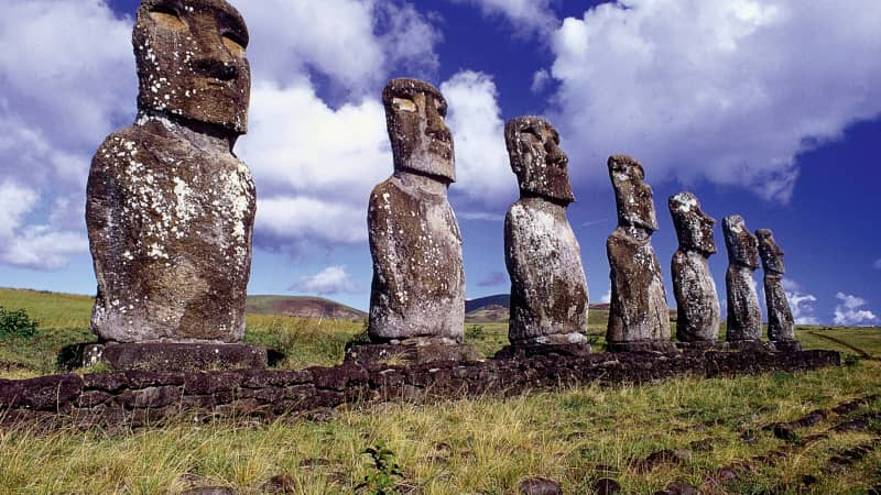 Moai were carved from solid basalt between the 13th and 16th centuries.