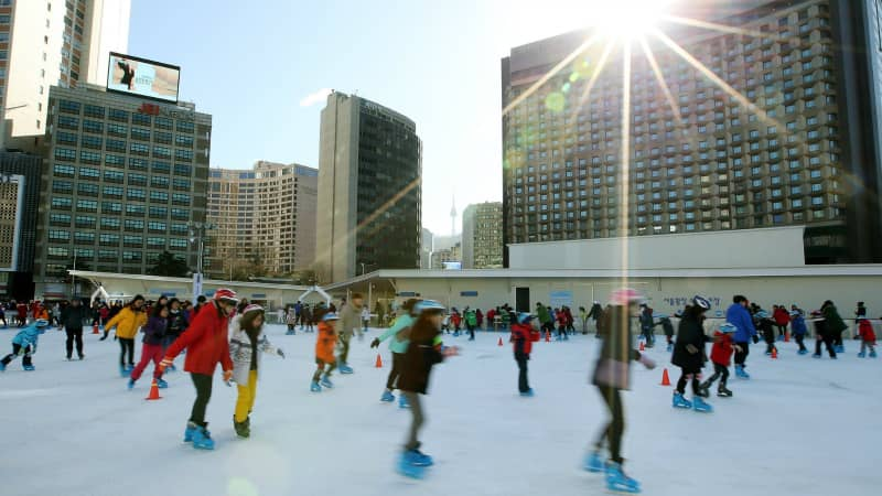 Do your best Kim Yuna impression on this public ice rink.