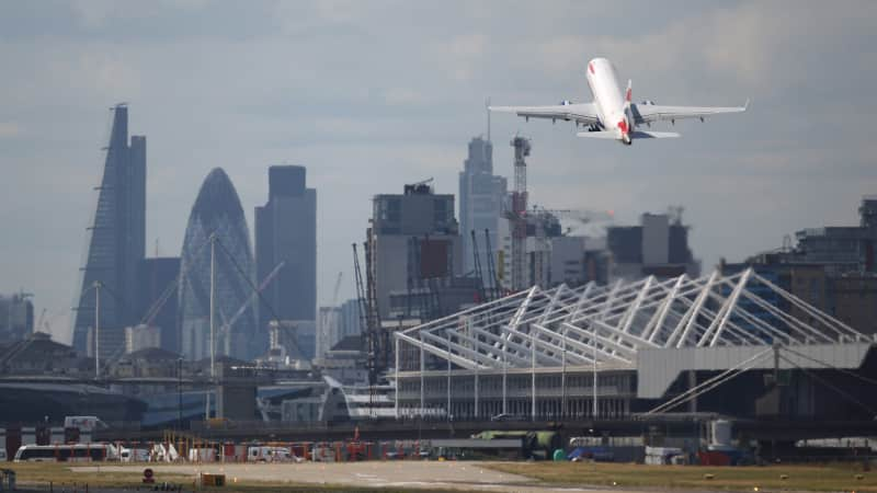 London City airport is just a few miles from the city center.