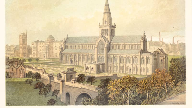 A color print depicting Glasgow Cathedral in the early 1900s.