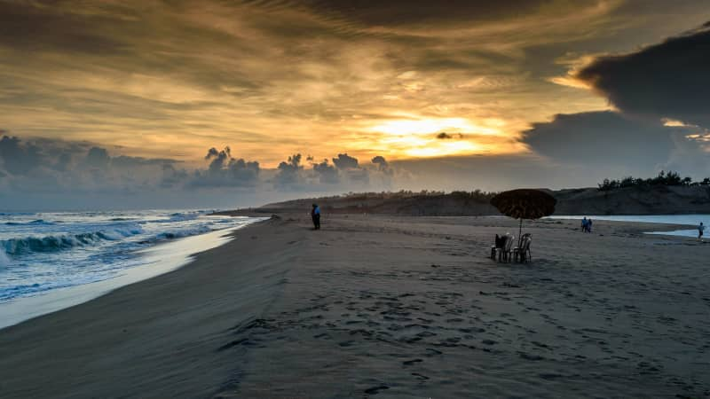 Sunset on Puri beach, known for its party atmosphere.