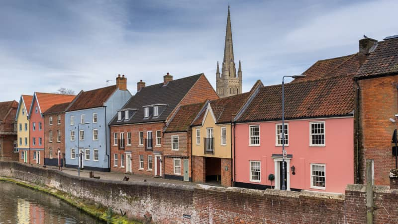 Norwich quayside on the River Wensum.