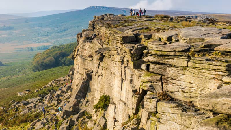 Stanage Edge in the Peak District is a popular hiking spot.