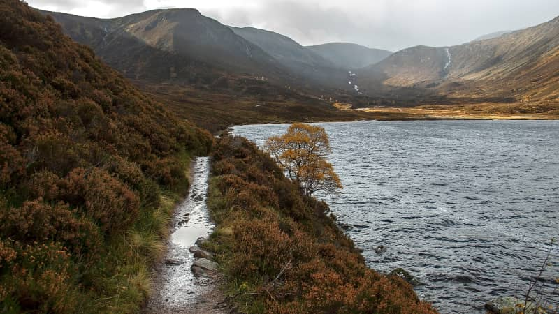 Loch Muick lies within Scotland's beautiful Cairngorms National Park.