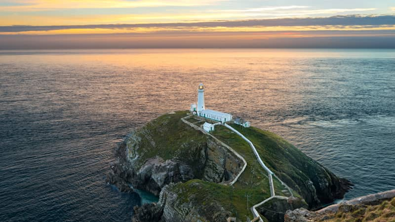 Cliffs around South Stack on Holy Island are home to puffins and peregine falcons.