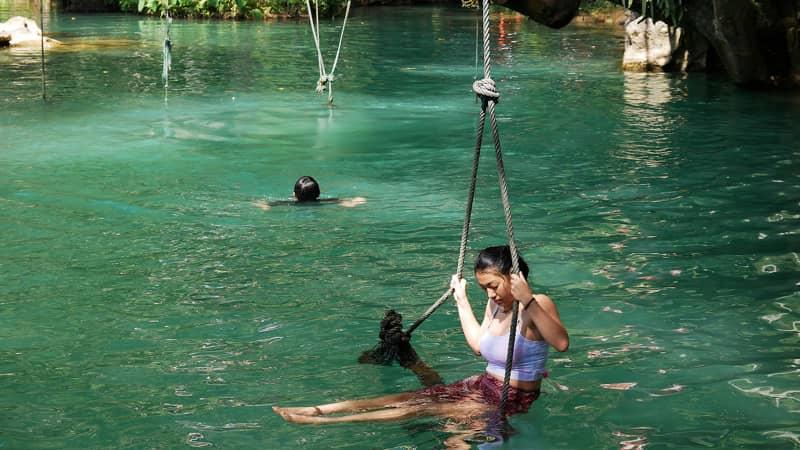 Chill out at Blue Lagoon near Tham Phu Kham.