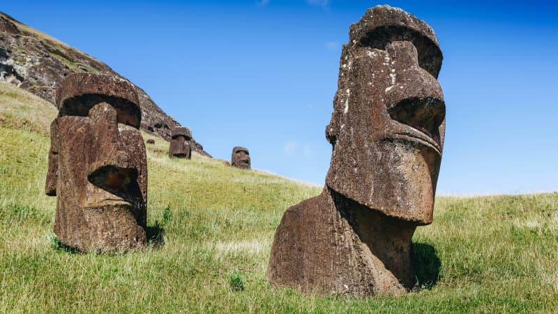 Easter Island is 2,300 miles off the coast of Chile.