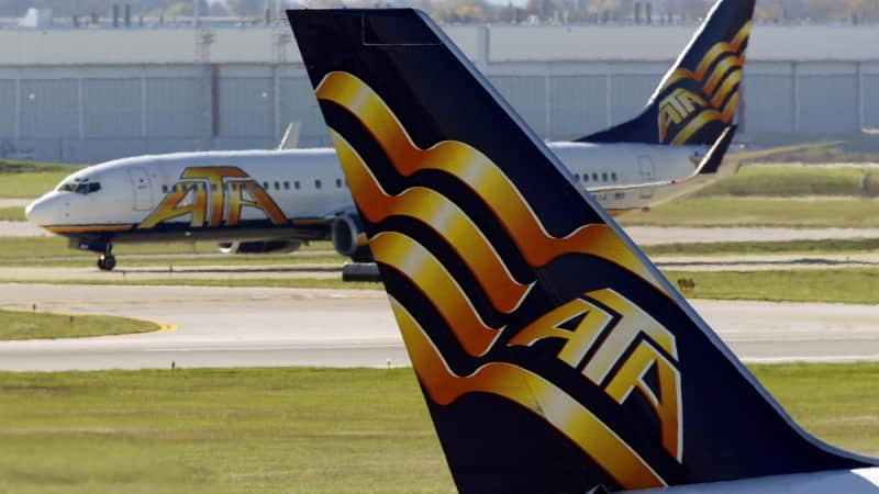 The tail of an ATA plane.