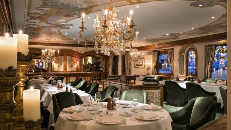 A peek inside the dining room of La Table des Airelles, which was recently renovated.