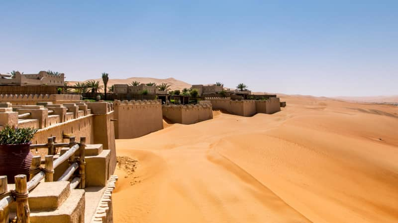 For a unique hotel experience, stay at Qasr Al Sarab, a hotel nestled in the Empty Quarter — the largest uninterrupted sand desert in the world.