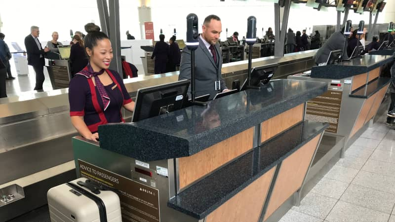 Biometric facial recognition cameras have been installed at Delta Air Lines' baggage drop station at Hartsfield-Jackson Atlanta International Airport.