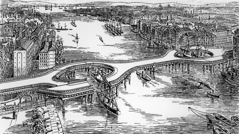 An avant-garde design of Tower Bridge that didn't make the cut.