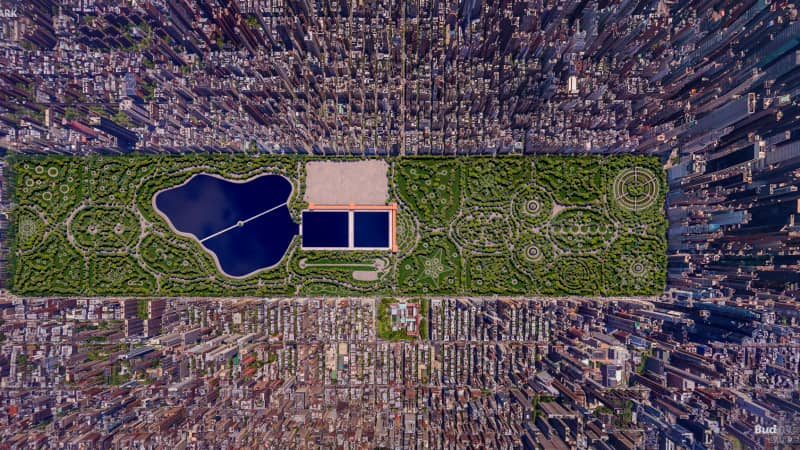 Budget Direct Travel Insurance commissioned these renderings of a failed design of Central Park by John J. Rink.