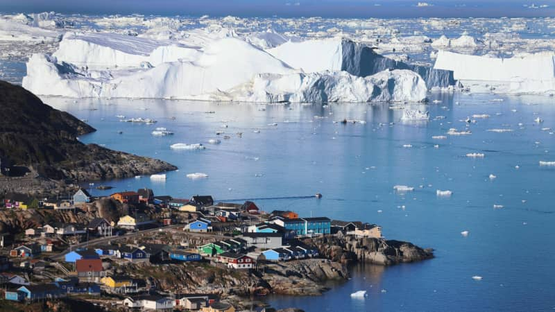 Icebergs that broke off from the Sermeq Kujalleq glacier in Ilulissat, Greenland.