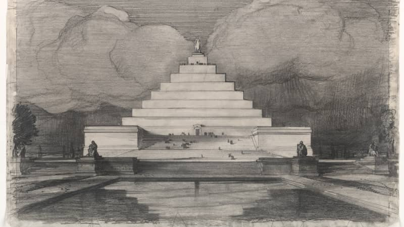 John Russell Pope's pyramid-like vision for the iconic structure in the US capital.