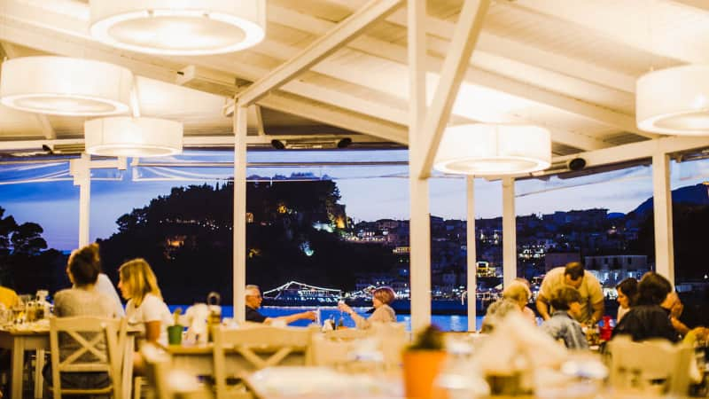 Villa Rossa offers fine dining overlooking the beautiful Parga bay.