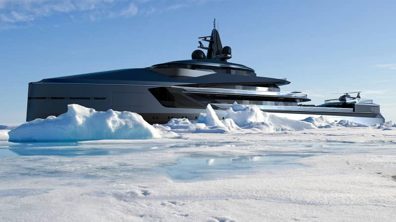 "The Esquel will be capable of traveling 7,000 nautical miles in a single journey, and ""toys"" on board will include snowmobiles, a helicopter and a submarine, say Oceanco."