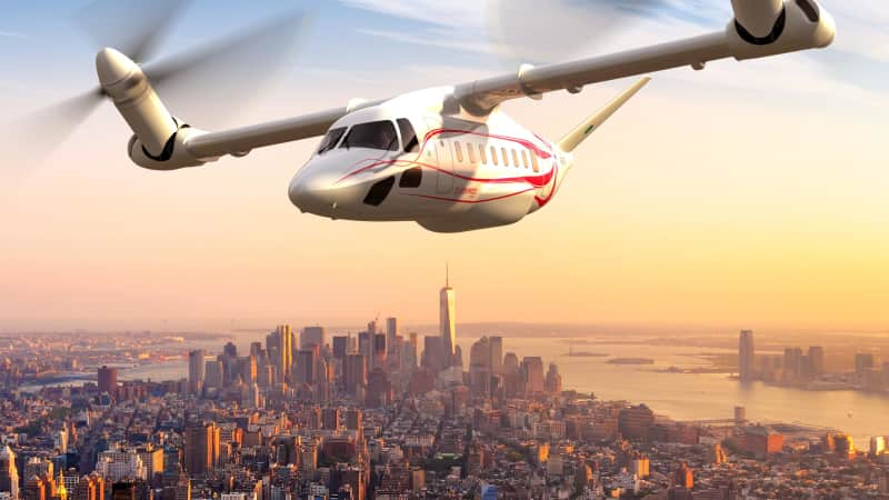 An artist's illustration of Leonardo's Next-Gen Civil Tiltrotor concept aircraft.