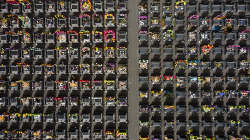 An aerial picture of graves taken on April 5, 2019, ahead of the annual Qingming festival, or Tomb Sweeping Day, at a cemetery in Dagantangcun, east of Beijing.