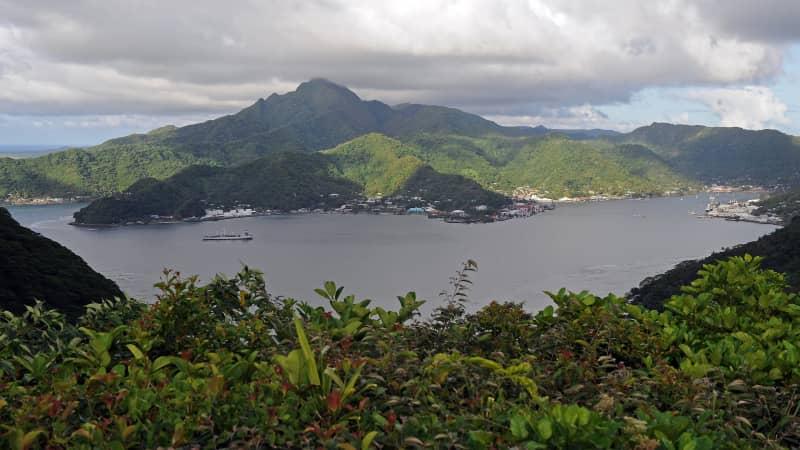 Matafao Peak dominates the skyline above Pago Pago Harbour.