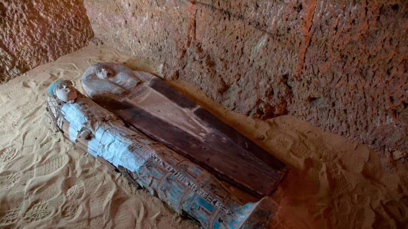 Sarcophagi inside a burial shaft at site
