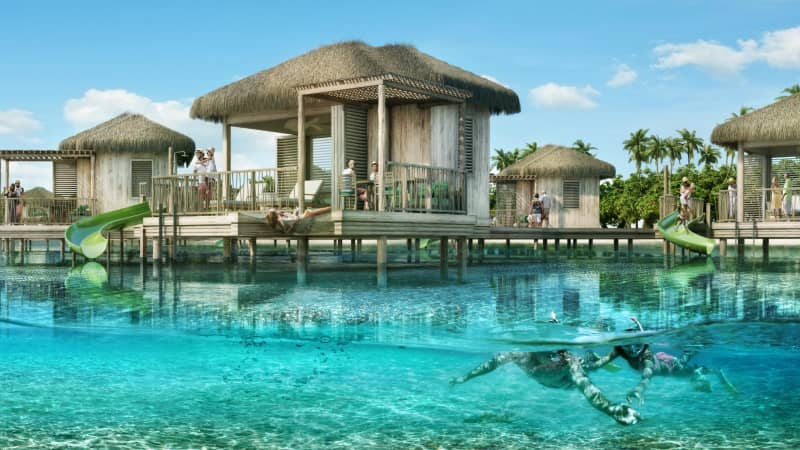 A rendering of Coco Beach Club's overwater cabanas, which are set to debut in December.