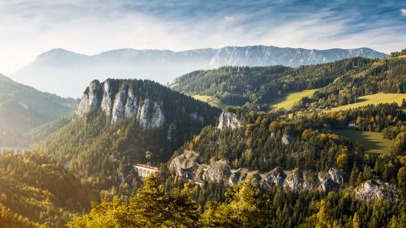 Spectacular panorama of the Semmering railway surroundings