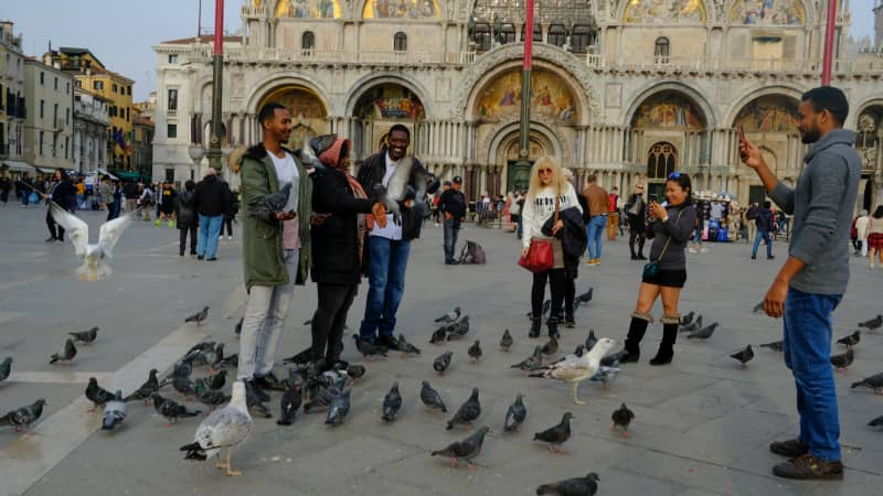 Tourists feed pigeons at Piazza San Marco, although the practice is restricted by the authorities.