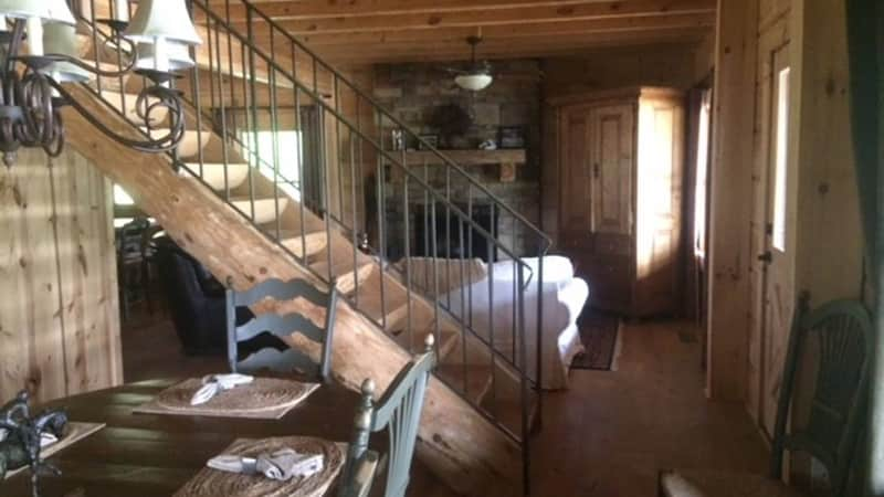 The 3 bedroom 3 bath cabin can be rented for $800 a night with a three night minimum.