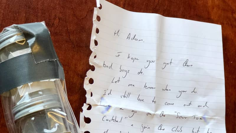 The toe and the handwritten note by Nick Griffiths