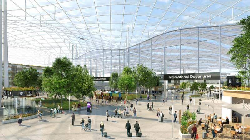"""Architect's impression showing a """"third space"""" concept for new terminal infrastructure at Heathrow."""