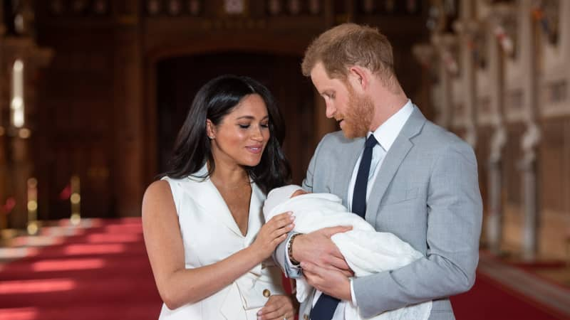 Prince Harry, Duke of Sussex and Meghan, Duchess of Sussex, pose with their newborn son Archie Harrison Mountbatten-Windsor on May 8.