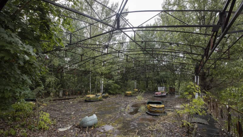 A playground is seen in the abandoned city of Prypyat.