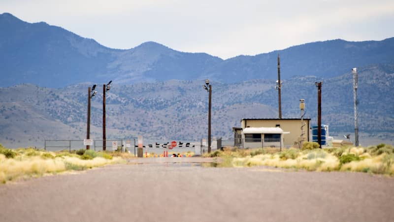 The back gate of the top-secret military installation known as Area 51 is seen on July 22.