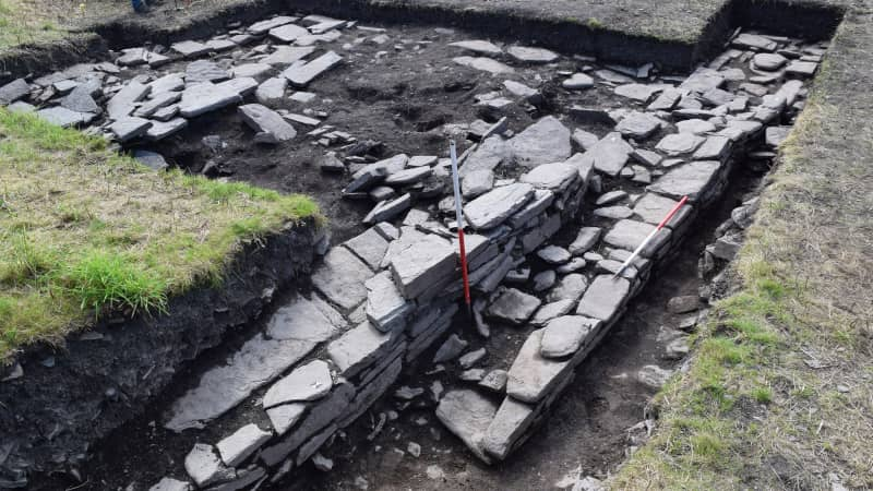 Skaill Norse Hall showing the northern outer wall. Photo: UHI Archaeology Institute