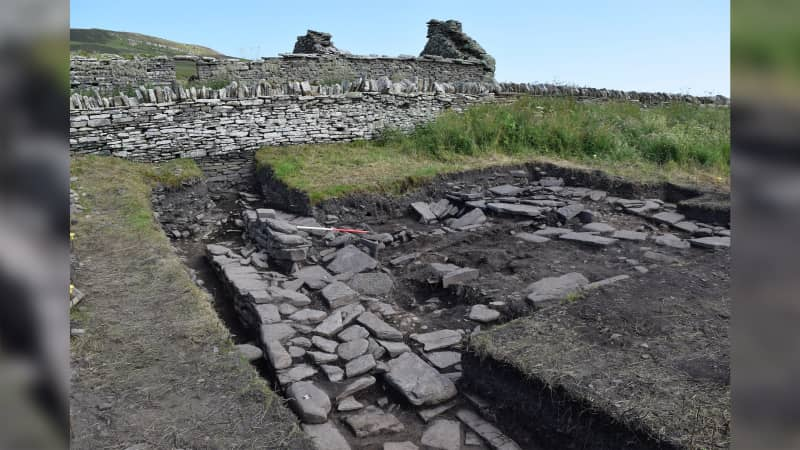 Skaill Norse Hall below present farmstead. Photo: UHI Archaeology Institute