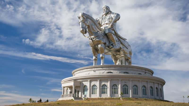 The world's largest statue of Genghis Khan is in Mongolia.