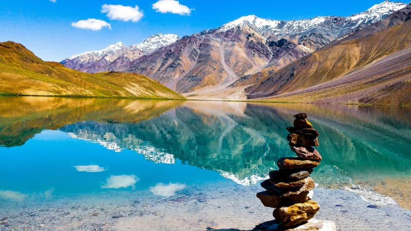 The famous Chandratal Lake captures the unimaginable beauty of Lahaul and Spiti.