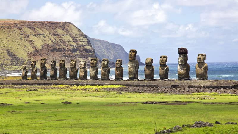 Easter Island is home to these hulking rock statues carved centuries ago.