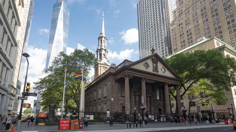 St. Paul's Chapel wasn't  damaged during the 9/11 attack and was an important rescue staging area in the hours and days afterward. You can see the new One World Trade Center soaring in the background.