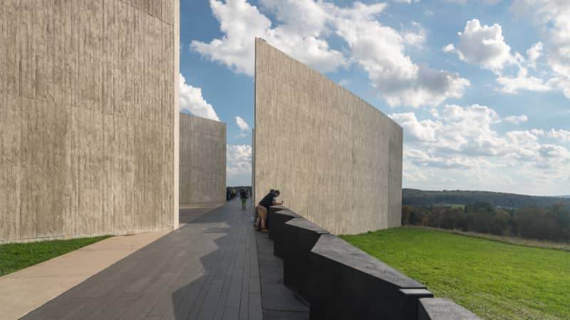 The visitor Center and viewing platform at the 9/11 memorial for Flight 93 near Shanksville, Pennsylvania.