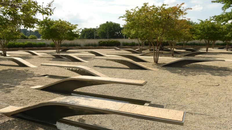 The Pentagon Memorial features 184 empty benches dedicated to the victims of the September 11 attack there.