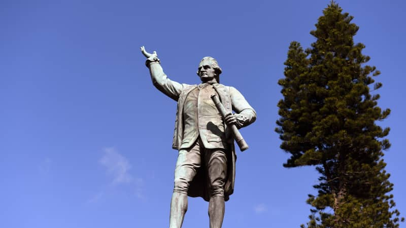 A statue of Captain James Cook in Sydney's Hyde Park.